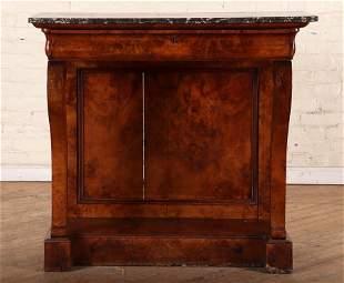 19TH C. FRENCH EMPIRE BURL WALNUT CONSOLE TABLE