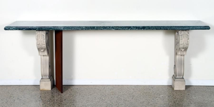 Cast Stone Console Table Green Marble Top 1920 Jan 26 2021 Kamelot Auctions In Pa