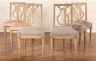 SET 6 FRENCH LYRE BACK DINING CHAIRS C.1940