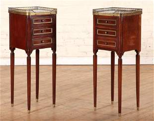 PAIR FRENCH MAHOGANY LOUIS XVI STYLE NIGHT STANDS
