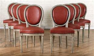 SET 8 FRENCH PAINTED DINING CHAIRS C.1940