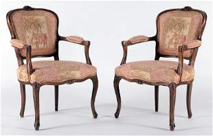 PAIR LOUIS XV STYLE OPEN ARM CHAIRS WALNUT C.1930