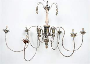 PAINTED IRON CARVED WOOD SIX ARM CHANDELIER