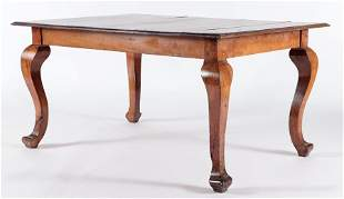 19TH C. CONTINENTAL CARVED WALNUT DINING TABLE