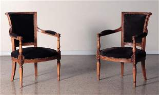 PAIR FRUITWOOD DIRECTOIRE STYLE OPEN ARM CHAIRS