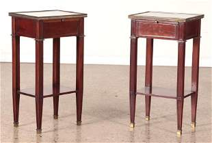 PAIR FRENCH MAHOGANY END TABLES BY ANDRE MAILFERT