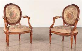 PAIR FRENCH CARVED BEECHWOOD OPEN ARM CHAIRS 1890