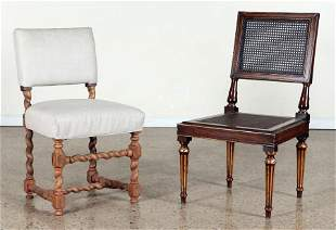 CANE BACK SIDE CHAIR AND UPHOLSTERED SIDE CHAIR