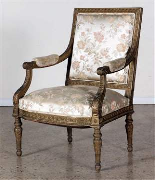 19TH C LOUIS XVI STYLE GILT CARVED OPEN ARM CHAIR