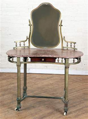 FRENCH BRASS MARBLE TOP VANITY WITH MIRROR 1900