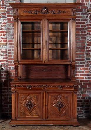 19TH C. CONTINENTAL WALNUT TWO-PIECE CABINET