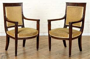 PR DIRECTOIRE STYLE FRENCH WALNUT OPEN ARM CHAIRS