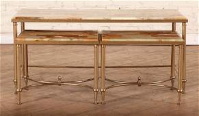 3 BRASS NESTING TABLES WITH ONYX TOPS