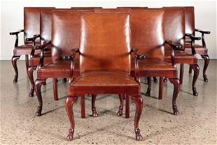 SET 10 LEATHER MAHOGANY OPEN ARM CHAIRS C.1920