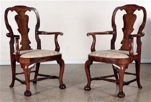 QUALITY PAIR FIGURED WALNUT OPEN ARM CHAIRS
