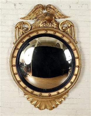 19TH C. FEDERAL STYLE GILT WOOD CONVEX MIRROR
