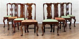 SET 8 MAHOGANY QUEEN ANNE STYLE DINING CHAIRS