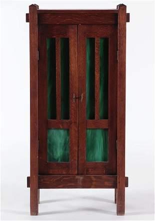 OAK ARTS AND CRAFTS CABINET SLAG GLASS C.1910