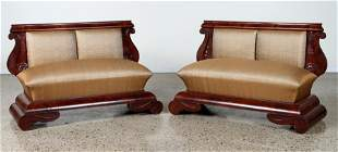 PAIR AMERICAN CROTCH MAHOGANY WINDOW SEATS 1850