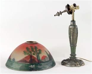 REVERSE PAINTED TABLE LAMP LANDSCAPE SCENE 1910