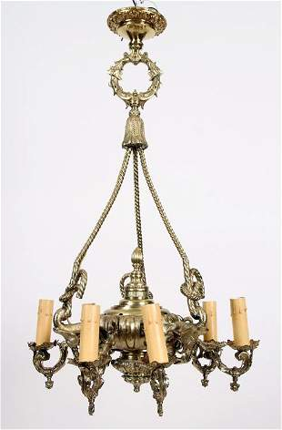 SIX ARM BRASS CHANDELIER ELEPHANT ROPE SUPPORTR