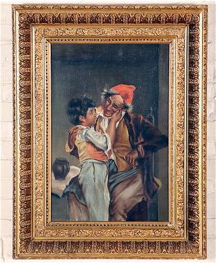LARGE OIL ON CANVAS PAINTING OF BOY AND ELDER