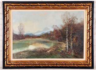 LARGE OIL ON CANVAS PAINTING FALL LANDSCAPE