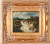 SMALL OIL ON CANVAS LANDSCAPE PAINTING SIGNED