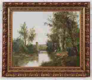 19TH C. OIL ON CANVAS LANDSCAPE PAINTING SIGNED