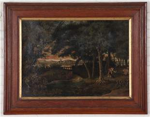 19TH C. OIL ON CANVAS LANDSCAPE EUROPEAN COURTING