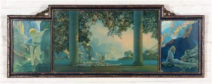 MAXFIELD PARRISH ORIGINAL FRAMED TRIPTYCH C.1920