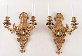 PAIR EMPIRE STYLE GILDED BRONZE WALL SCONCES