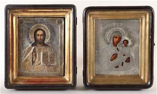 PAIR 19TH C. RUSSIAN WEDDING ICONS IN BOX FRAMES