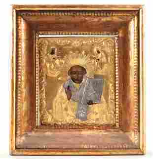 19TH C. RUSSIAN ICON ST. NICHOLAS HAND PAINTED