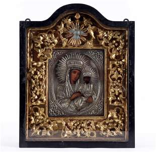 19TH C. RUSSIAN SILVER PLATED ICON WITH PAINTING