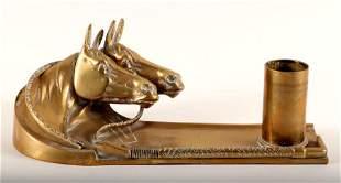 BRONZE CIGARETTE HOLDER W/ HORSE HEADS & WHIP