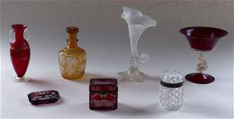 7 PC. ITALIAN AND BOHEMIAN GLASS OBJECTS