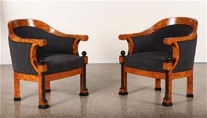 PAIR NEOCLASSICAL STYLE  BURLED WALNUT BERGERES