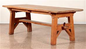 OAK SLAB TOP TABLE MODERNIST FORM CIRCA 1940