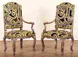 PAIR CARVED OPEN ARM CHAIRS MANNER OF LIBERACE