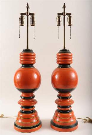 PR PAINTED TURNED WOOD TABLE LAMPS BALUSTER FORM