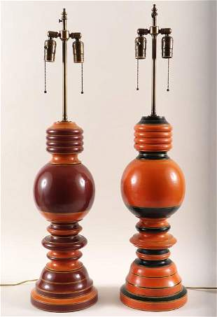 TWO PAINTED TURNED WOOD TABLE LAMPS BALUSTER FORM