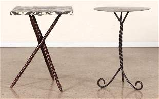 SUEDE TOP TABLE AND SCROLL FORM IRON TABLE