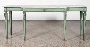 CARVED PAINTED ITALIAN MARBLE TOP CONSOLE 1950