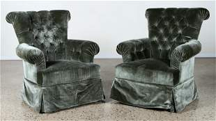 PAIR UPHOLSTERED CLUB CHAIRS NAPOLEON III STYLE