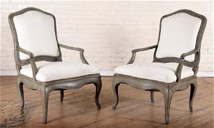 LARGE PAIR 18TH C. STYLE PAINTED OPEN ARM CHAIRS