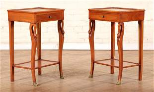 PAIR PEARWOOD END TABLES SWAN FORM LEGS C. 1940