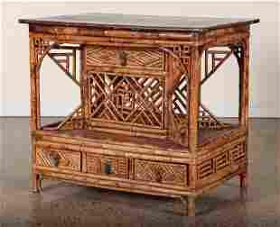 BAMBOO MAHOGANY 19TH CENT. CONSOLE TABLE