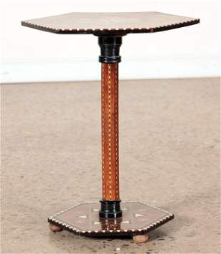 PETITE MIXED WOOD INLAID SYRIAN STYLE TABLE