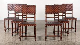 SET 6 19TH C. CONTINENTAL CARVED WALNUT CHAIRS